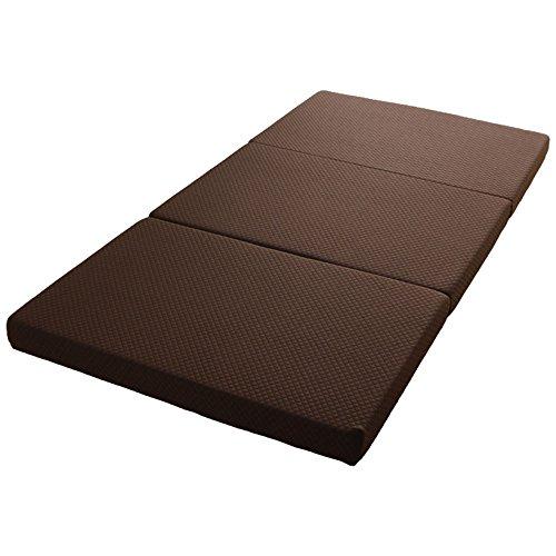 アイリスプラザ 高反発マットレス ブラウン シングル 厚さ10cmボリュームタイプ 三つ折り かため 圧縮タイプ 高密度高反発ウレタンフォーム リバーシブルカバー 洗える 306N