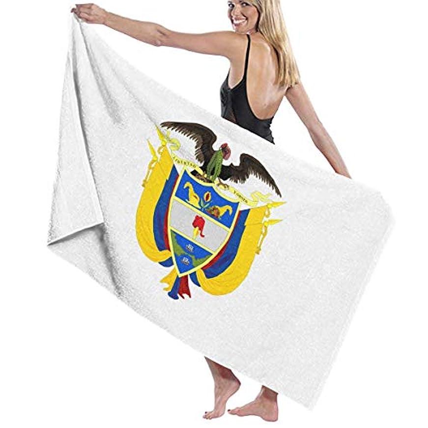 パレード対立おもてなしビーチバスタオル バスタオル コロンビア国旗の紋章 ビーチ用 海水浴 旅行用タオル 多用途 おしゃれ White