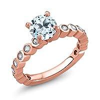 Gem Stone King 2.34カラット 天然 スカイブルートパーズ 合成ホワイトサファイア (ダイヤのような無色透明) シルバー925 ピンクゴールドコーティング 指輪 リング