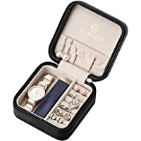 Vlando Small Travel Jewellery Box Organisers - Storage Case for Rings Earrings Necklace (Black)