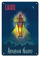 22cm x 30cmヴィンテージハワイアンティンサイン - カイロエジプト - アラビアンナイト - 千と一夜 - アラジンの魔法のランプ - ビンテージな世界旅行のポスター によって作成された M. アズミー c.1946