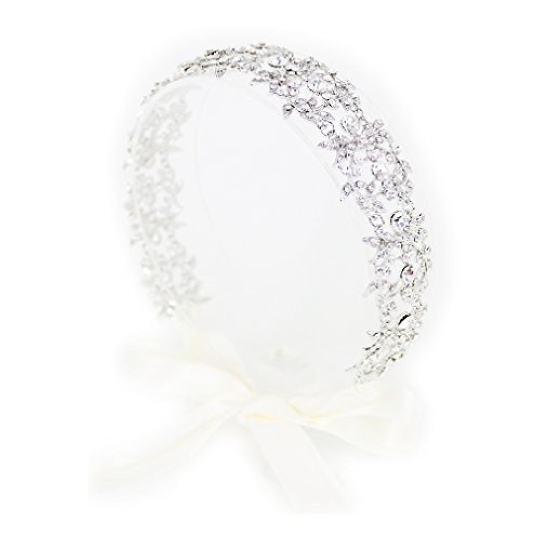 ティアラ 結婚式 キュービックジルコニア ヘッドドレス ウエディング ティアラ ブライダル 花冠 髪飾りftka101sr