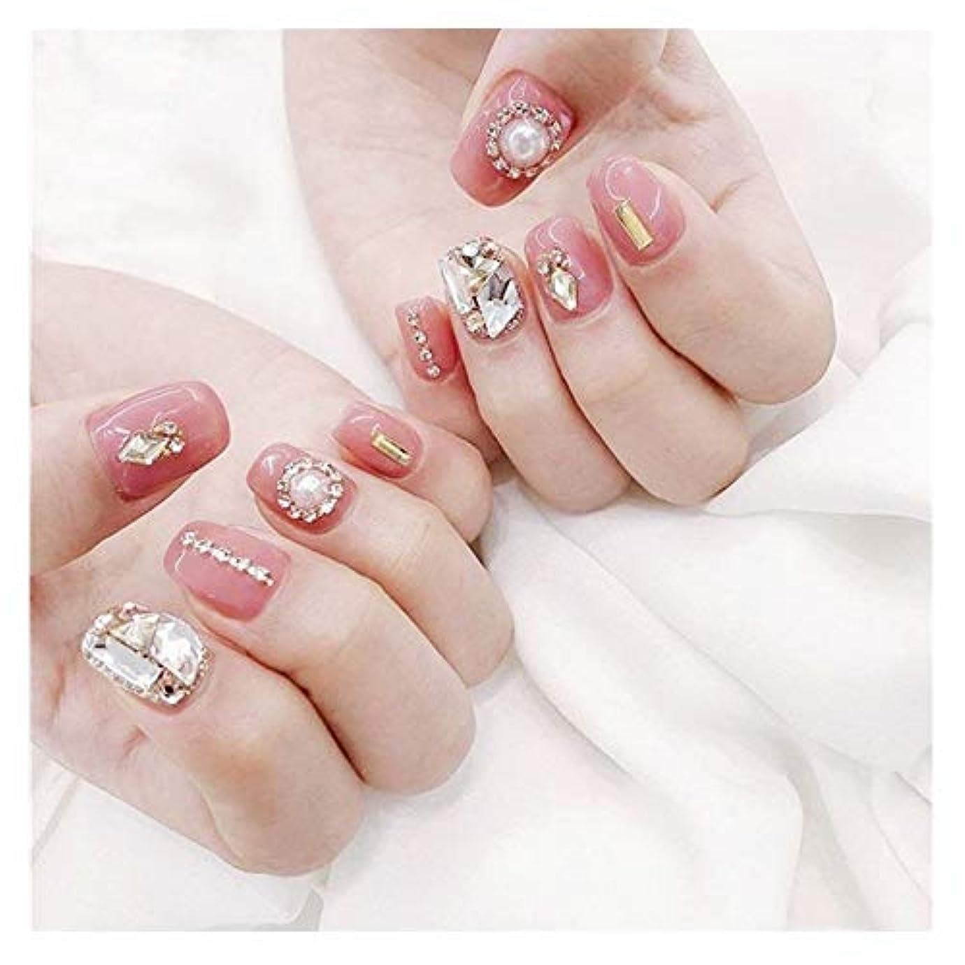 愛可愛い経済的LVUITTON ダイヤモンドのり偽の爪ピンクのかわいい花嫁フォトスタジオ完成ネイル偽の釘 (色 : 24 pieces)