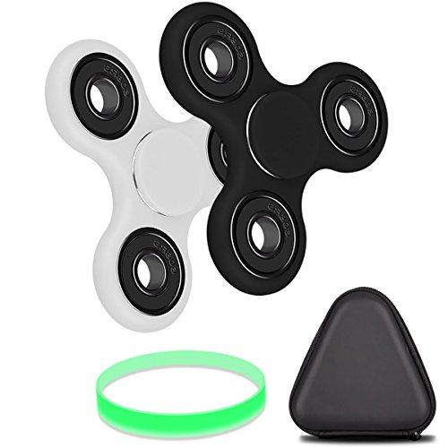 Olycism ハンドスピナー 指スピナー ボールベアリング 三角指スピナー デスク玩具 (ブラック&ホワイト 2個セット)