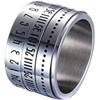 feelingood Retro Wide Rotatable Number Clock Time Best Original Color Steel Band Ring Circle
