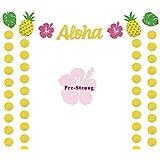 ハワイアンAlohaパーティーBannerルアウテーマSupplies Tropical LeavesパイナップルデコレーションGlitter円ドットの大人の背景子供ベビーシャワー誕生日ウェディングアイデア