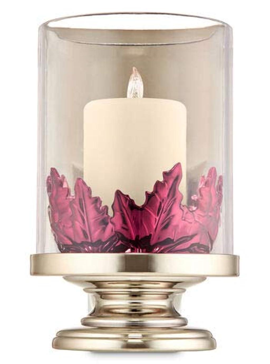 富豪電極勇気のある【Bath&Body Works/バス&ボディワークス】 ルームフレグランス プラグインスターター (本体のみ) ピラーキャンドル with リーブス ナイトライト Wallflowers Fragrance Plug Pillar Candle with Leaves Night Light [並行輸入品]