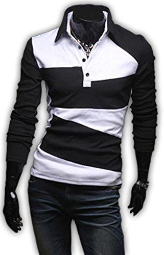 【スマイズスマイル】Smaids×Smileメンズポロシャツ半袖ボタンダウン長袖スタイリッシュスリムシンプルゴルフスポーツウェアM02081(ブラック長袖XXL)