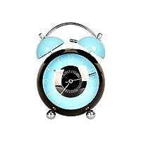 かわいい漫画小さな目覚まし時計クリエイティブ学生子供ベッドサイドクロック機械式着信音テーブルミュート置時計金属置時計 (色 : 青, サイズ さいず : 4.5 inches)