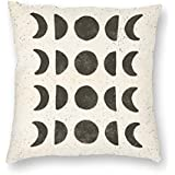 Decorative Pillow Covers Moon Phases - Black on Cream Throw Pillow Case Cushion Cover Home Decor,Square 18 X 18 inches