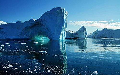 海、氷山 風景の写真 キャンバス印刷アートポスター(50cmx75cm)