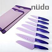 【鮮やかなカラーの包丁セットで理想のキッチンを楽しく演出】 nudoヌード キッチンナイフ7本&まな板2枚(大小各1枚)セット (カラー:紫)