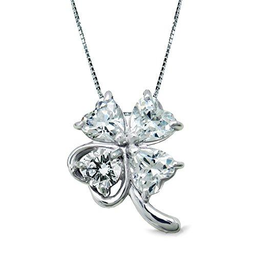 [ミワホウセキ] miwahouseki 選べる 誕生石 付き 幸運 呼び込む 四葉 の クローバー ネックレス ペンダント (4月 ダイヤモンド)