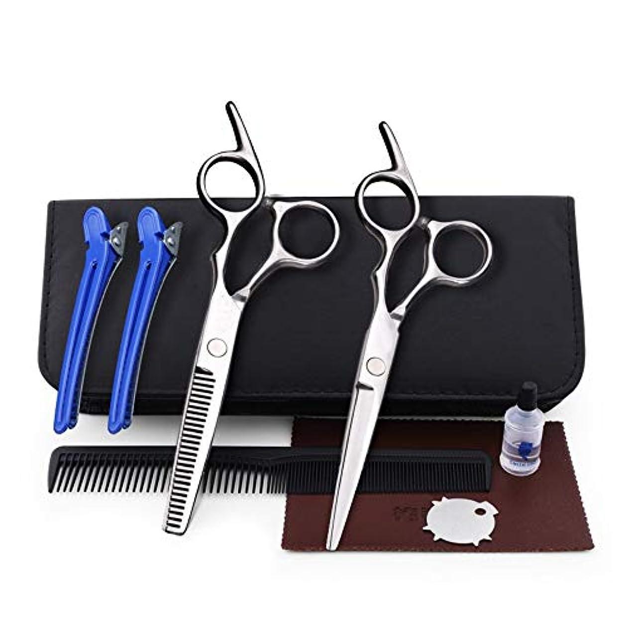 6.0インチ理髪はさみ、ヘアーサロンファミリーはさみセットフラット+歯はさみセットコンビネーションツールセット ヘアケア (色 : Silver)