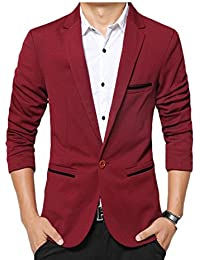 Nicellyer Mens One Button Slim Fit Spring and autumn Flap Pockets Plus Size Coat Blazer
