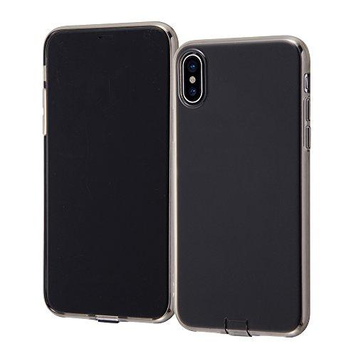 レイ・アウト iPhone X ケース ソフト TPU コネクタキャップ付き ブラック RT-P16TC10/BM