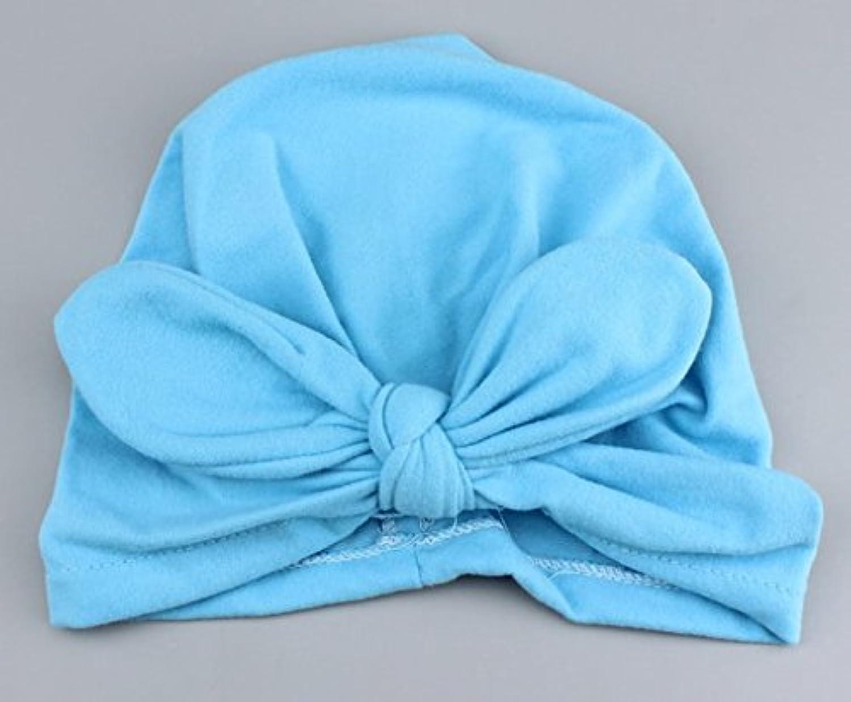 SODIAL 新生児 子供用 人気 スイミング帽子 かわいい ベビー キャップ ハット 結び目 ファッション スリーブ 柔らかい (blue)