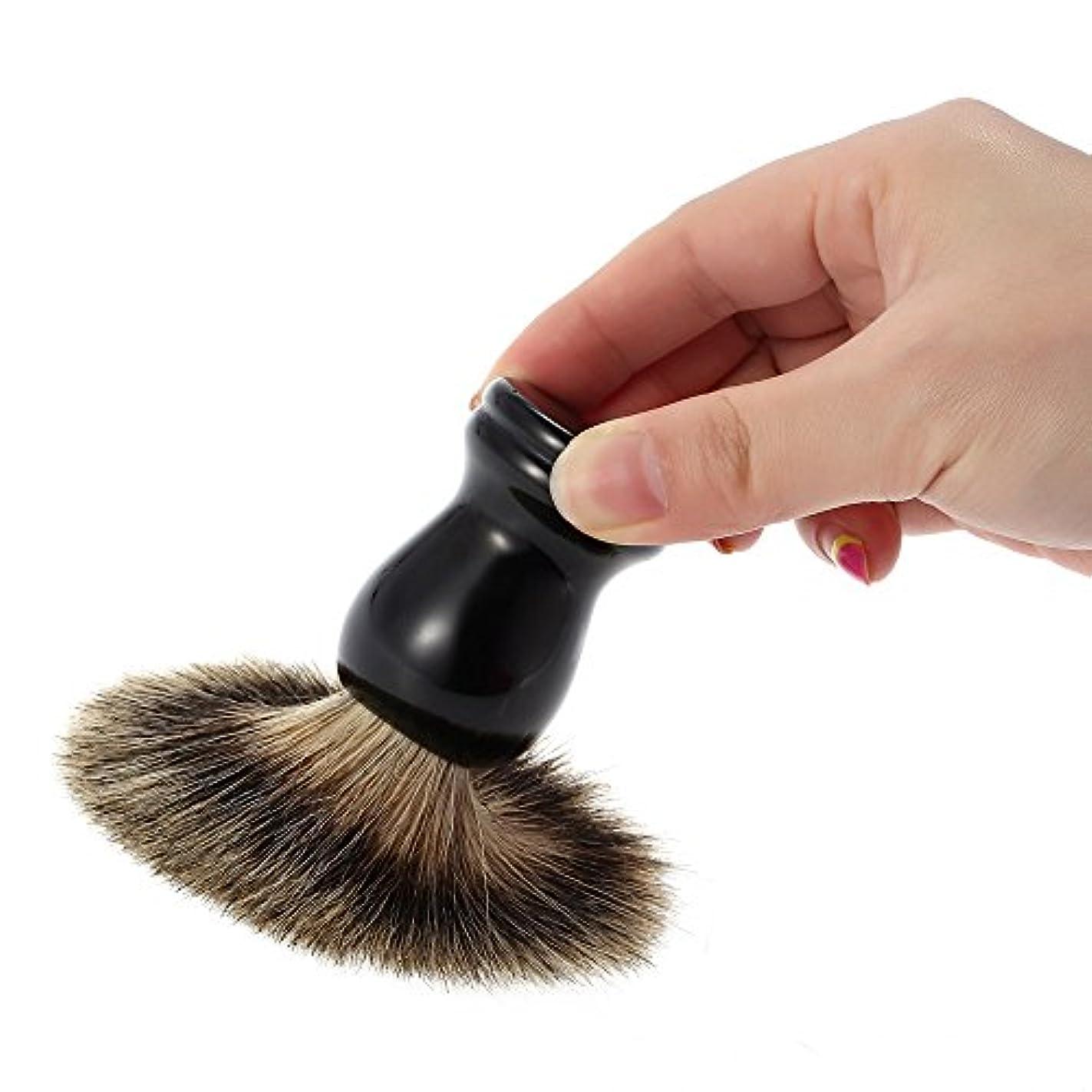 孤独な賢明な葬儀シェービング用ブラシ  メンズ 100% アナグマ毛   理容 洗顔 髭剃り 泡立ち