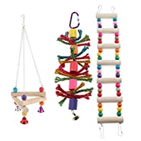 gazechimp 3個 鳥のおもちゃ 止まり木 吊下げタイプ玩具 噛む玩具 スイング はしご ケージ飾り 運動不足