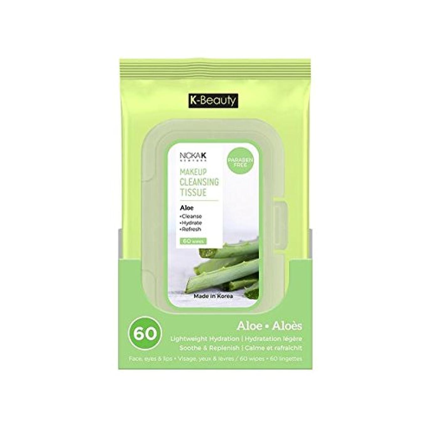 キリスト教刃聡明(6 Pack) NICKA K Make Up Cleansing Tissue - Aloe (並行輸入品)