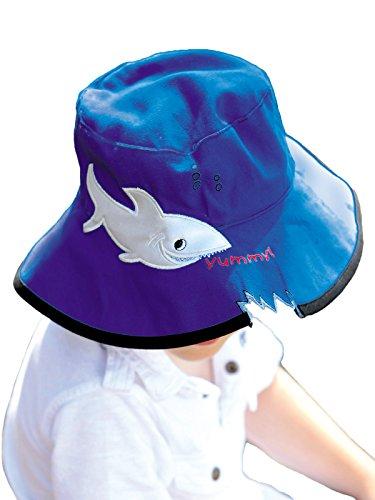 (サングローブ) Sunglobe UVカット 帽子(子供用) - キッズ ハット - ワイド バケット カラー:シャーク(ダークブルー) サイズ:55cm