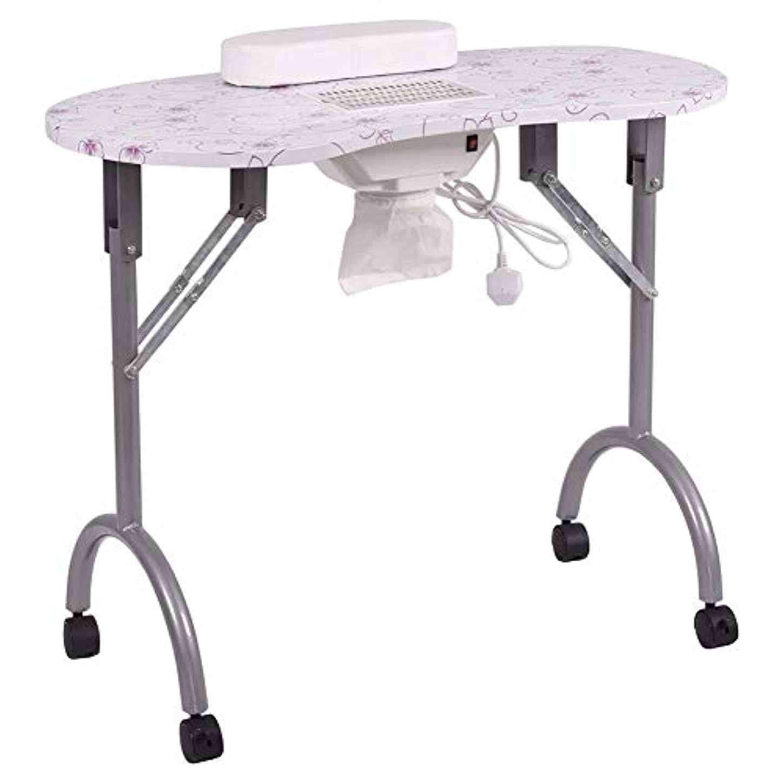 認識胚差別化するネイルテーブル折りたたみ式ポータブルマニキュアテーブルベントマニキュアワークステーションネイルデスクサロンスパネイル掃除機andbag