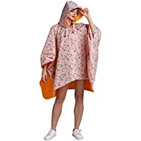 Freesmily Women's Stylish Waterproof Rain Poncho Coloful Floral Print Raincoat with Hood and Zipper
