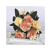 人工シャクヤクの花のシルクブーケ結婚式の装飾小フェイク花ホームデコレーションDIYの中国のメイド、オレンジ