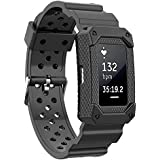 Moretek Fitbit Charge2 Case Sports Bands Anti Impact Resilient Protection Strap Rugged Band Armor Screen Protectors Ultimate Protection from Drops and Impacts for Fitbit Charge 2 Fitness Bands