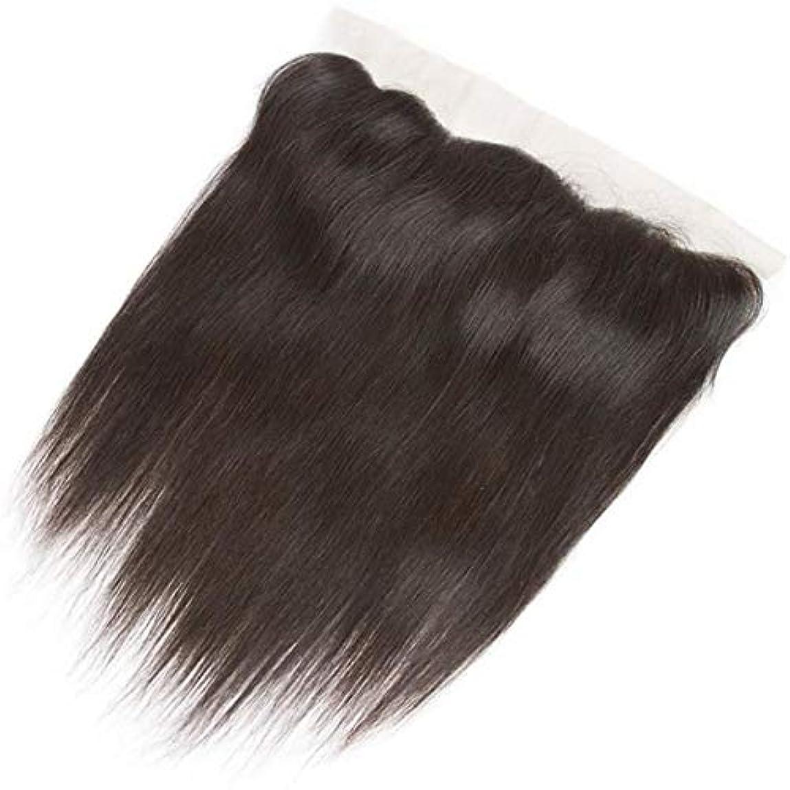 青所得インクWASAIO スクエア髪前頭閉鎖ブラジルのバージン人毛ヘアエクステンションクリップUnseamed 10「-20」13 * 4レース (色 : 黒, サイズ : 10 inch)