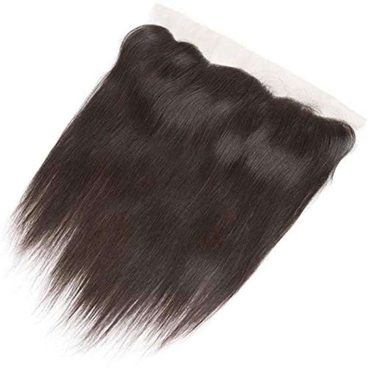 排除欠伸検出可能WASAIO スクエア髪前頭閉鎖ブラジルのバージン人毛ヘアエクステンションクリップUnseamed 10「-20」13 * 4レース (色 : 黒, サイズ : 10 inch)