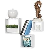 (White) - Harbortown 3pc Wall Cube Display Shelf Set Square Decorative Floating Shelves