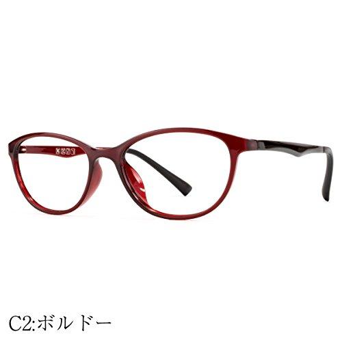 MIDI-ミディ ブルーライトカットメガネ レディース 上品なフォックススタイル (select-4) PCメガネ ブルーライトカット おしゃれ レディース パソコン用メガネ フォックス 超軽量 (ボルドー)