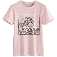 Romwe Women's Short Sleeve Top Casual The Great Wave Off Kanagawa Graphic Print Tee Shirt