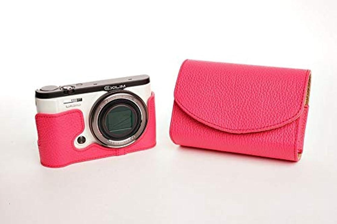 爵ファンシー最初カシオ ZR3500 用本革カメラケース &バッテリーケース付ストラップ 各種カラー