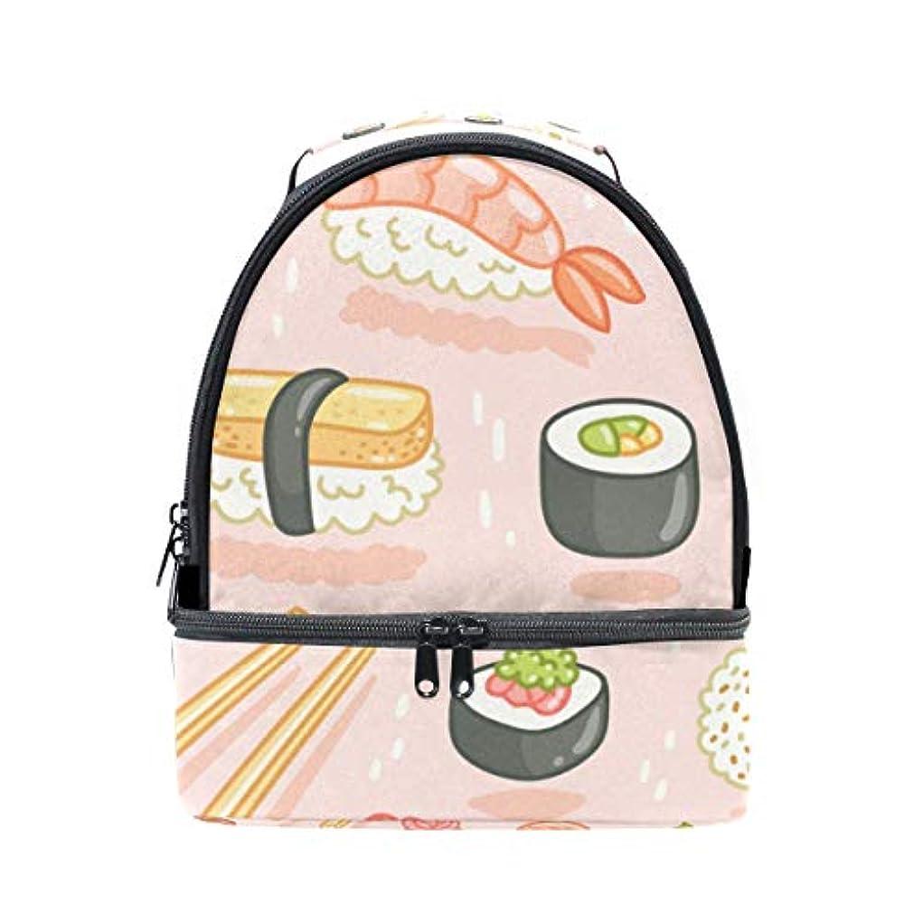 比類のないニュース十分旅人 ランチバッグ ダブルデザイン 手提げ 弁当袋 寿司柄 ピンク 冷蔵ボックス キャンプ用品 保冷 保温 学生 通勤族用