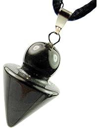 太字オニキス瑪瑙宝石三角形円錐ポイント振り子チャームペンダント調節可能な20