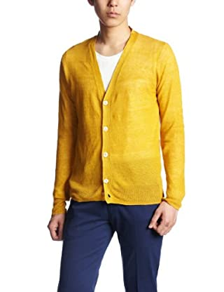 Linen V-neck Cardigan 1283-117-0036: Mustard