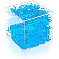 Findbetter 3d迷路 立体迷路パズル 暇つぶしキューブ 密閉安全 6cm キューブ型 立体迷路ゲーム こども 脳トレ 知育玩具 6面完成 色の暗示 辛抱強い養成 手目脳同期 クリアブルー(冷静、沈着)