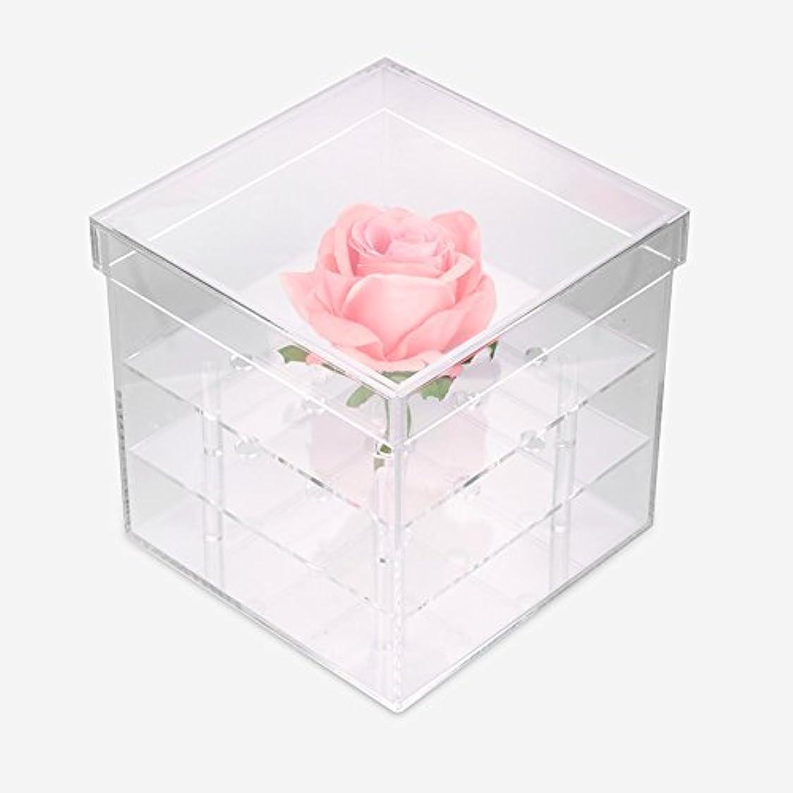ロボット夫婦蓋透明なアクリルの新鮮なバラのプリザーブドフラワーボックス、多機能の結婚式の花のギフトボックスアイブローペンシル?アイライナー?オーガナイザー?ホルダー(9ホール)