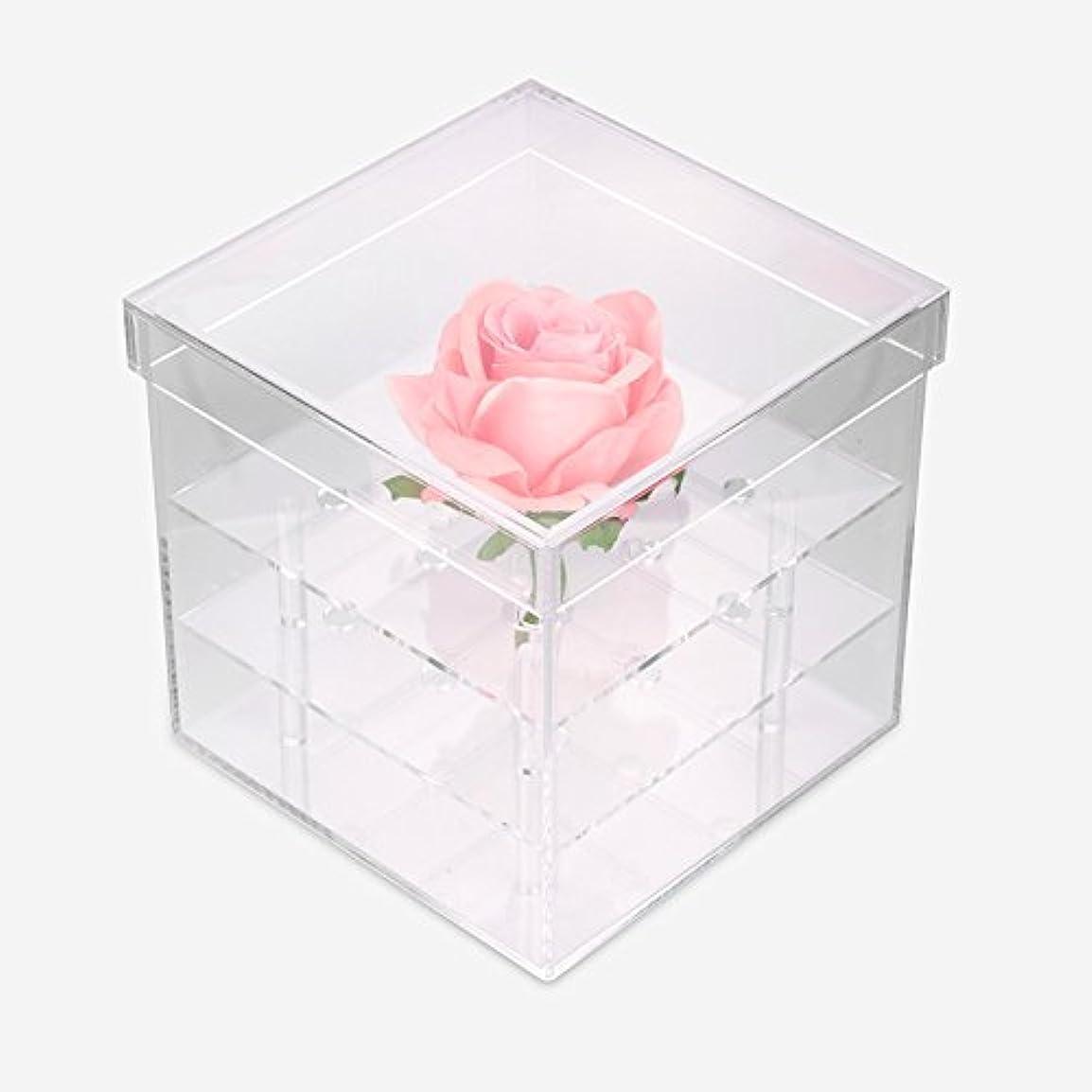 静けさ機関アフリカ透明なアクリルの新鮮なバラのプリザーブドフラワーボックス、多機能の結婚式の花のギフトボックスアイブローペンシル?アイライナー?オーガナイザー?ホルダー(9ホール)