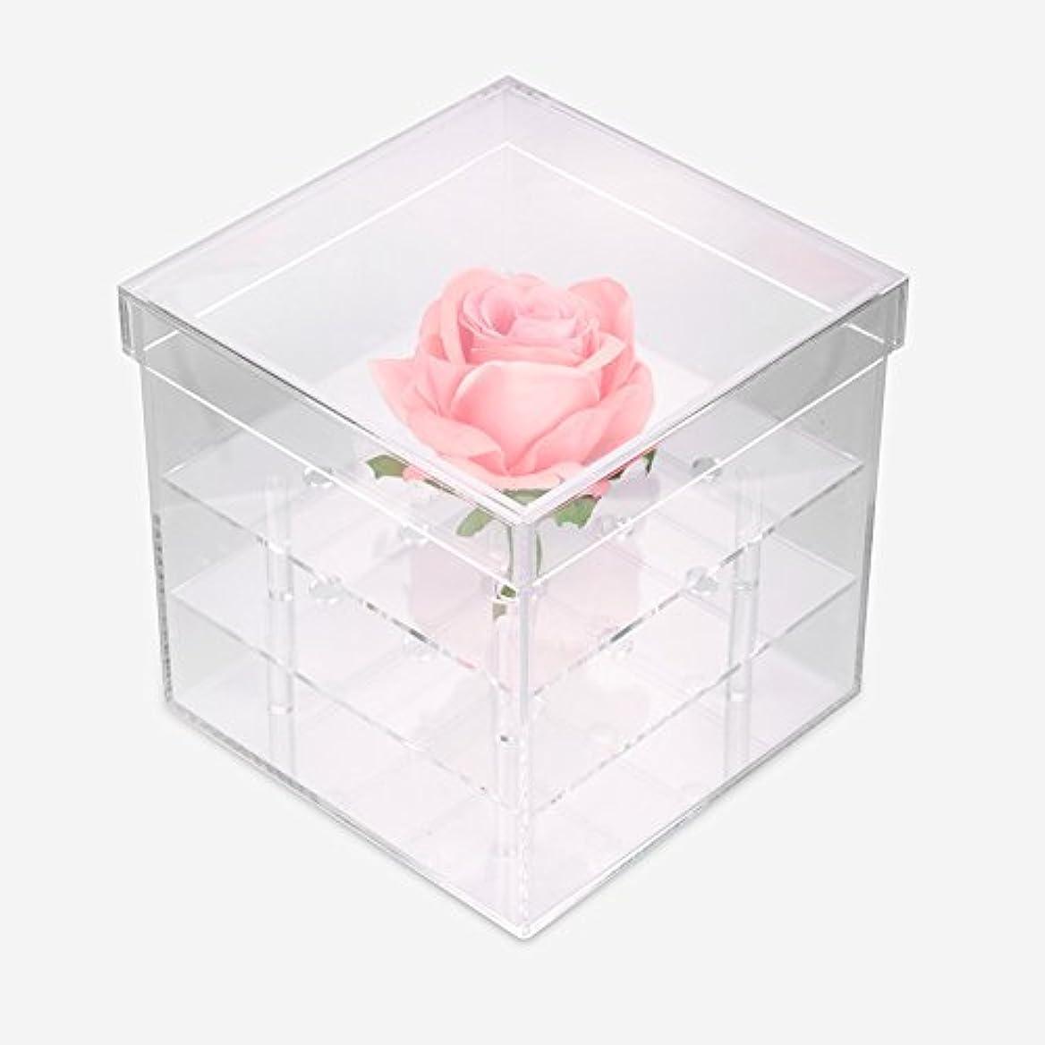 にじみ出るアイロニー骨の折れる透明なアクリルの新鮮なバラのプリザーブドフラワーボックス、多機能の結婚式の花のギフトボックスアイブローペンシル?アイライナー?オーガナイザー?ホルダー(9ホール)