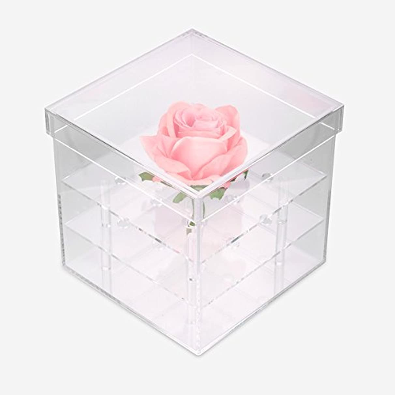 燃やす渦解釈する透明なアクリルの新鮮なバラのプリザーブドフラワーボックス、多機能の結婚式の花のギフトボックスアイブローペンシル?アイライナー?オーガナイザー?ホルダー(9ホール)