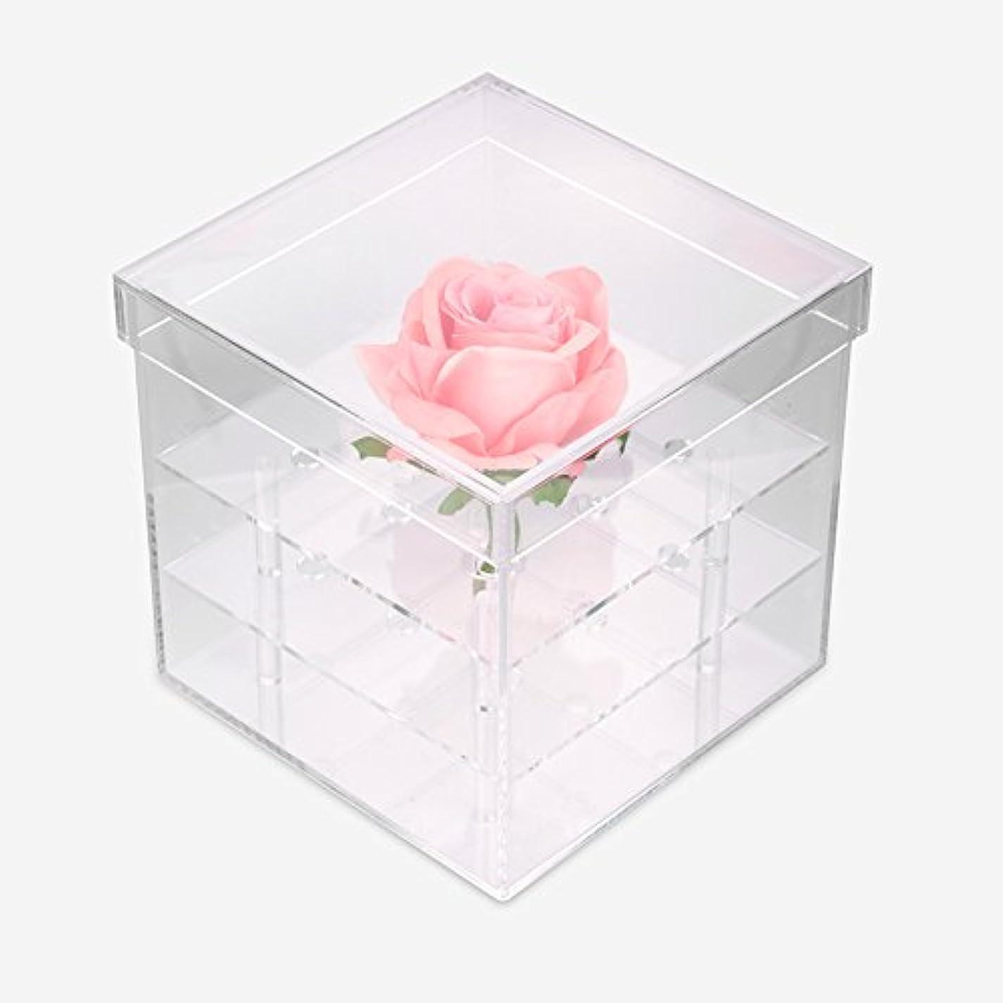 愛する体操選手泥だらけ透明なアクリルの新鮮なバラのプリザーブドフラワーボックス、多機能の結婚式の花のギフトボックスアイブローペンシル?アイライナー?オーガナイザー?ホルダー(9ホール)