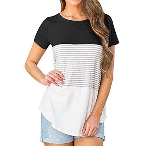 女 トップス、三番目の店 レディース 半袖 トリプルカラー ブロック ストライプ Tシャツ カジュアル ブラウス Tシャツ