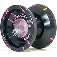 ヨーヨー,MAGIC YOYO マジックヨーヨーK9 トップキングアルミ合金ヨーヨー玩具 ハブスタック付き 黒+ピンク色