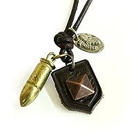 【quitter】クイッターQTA086弾丸×ピラミッド紋章ヴィンテージ加工レザーネックレス (真鍮ゴールド)