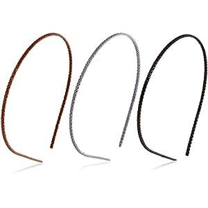 [イマック] imac カチューシャ レザー ブラック グレー ブラウン 3本セット 147675