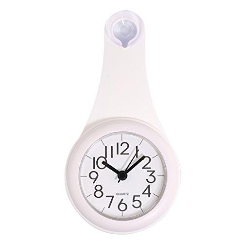 防水壁掛け時計 YIFAN 家庭用 浴室用 シャワークロック お風呂 キッチン ウォータープルーフ掛け時計 静音-ホワイト 11 * 21.6 * 4cm
