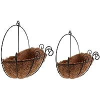 B Baosity 2個 鍛鉄製 植木鉢 装飾 バスケット プランター バルコニー 装飾 ぶら下げ